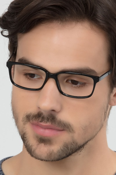 Denny Black/Gray Acetate Eyeglass Frames for Men from EyeBuyDirect