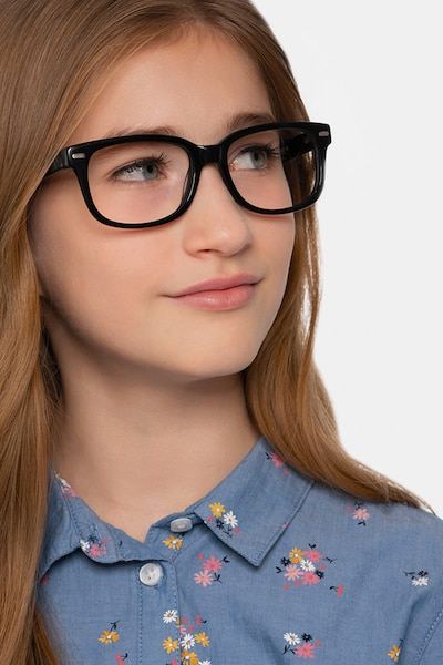 Little John Black Acetate Eyeglass Frames for Women from EyeBuyDirect, Front View