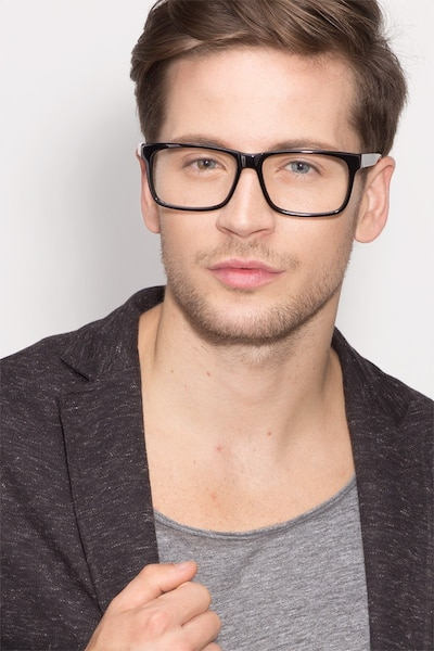 Sydney Black Acetate Eyeglass Frames for Men from EyeBuyDirect, Front View
