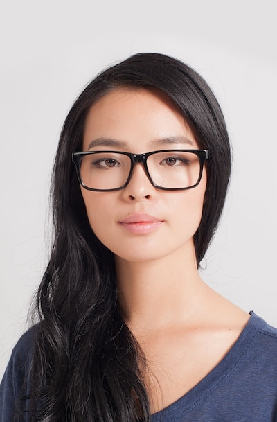 Sydney Black Acetate Eyeglass Frames for Women from EyeBuyDirect, Front View