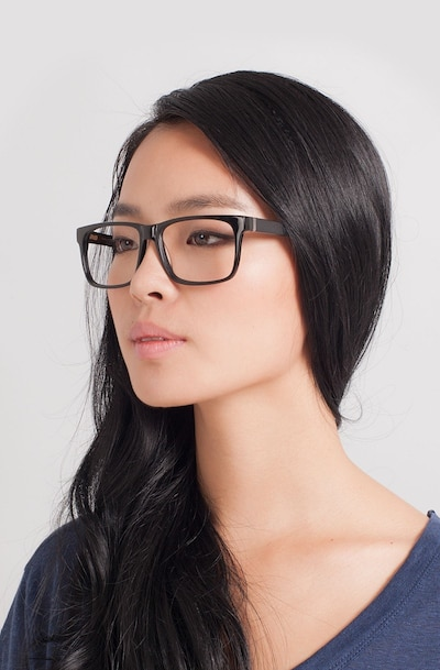 Sydney Black Acetate Eyeglass Frames for Women from EyeBuyDirect