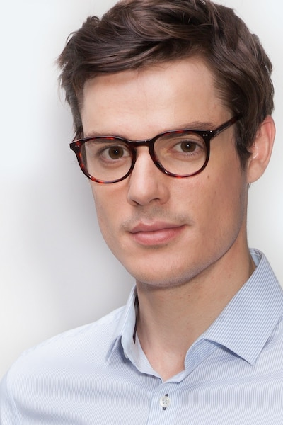 Aura Warm Tortoise Acetate Eyeglass Frames for Men from EyeBuyDirect