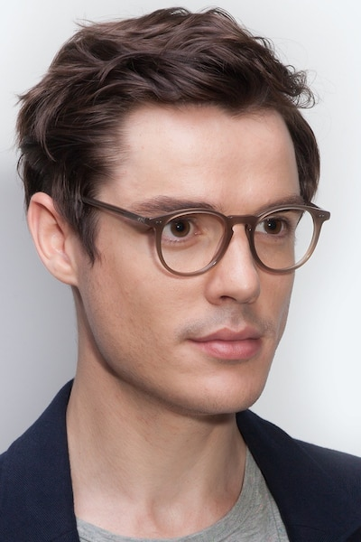 Prism Taupe Acetate Eyeglass Frames for Men from EyeBuyDirect, Front View