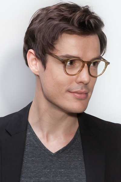 Prism Chestnut Acetate Eyeglass Frames for Men from EyeBuyDirect, Front View