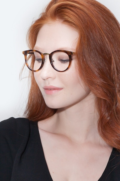 Nostalgia Caramel Metal Eyeglass Frames for Women from EyeBuyDirect