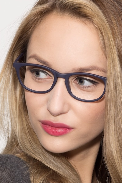 Valentin Navy Acetate Eyeglass Frames for Women from EyeBuyDirect