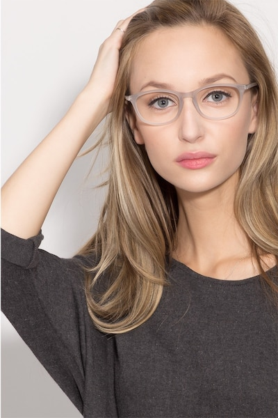 Valentin Clear/Gray Acetate Eyeglass Frames for Women from EyeBuyDirect, Front View