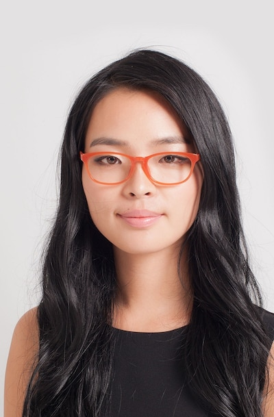Drums Orange Plastic Eyeglass Frames for Women from EyeBuyDirect, Front View