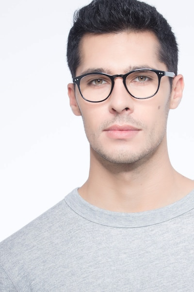 Instant Crush Clear/Black Plastic Eyeglass Frames for Men from EyeBuyDirect, Front View