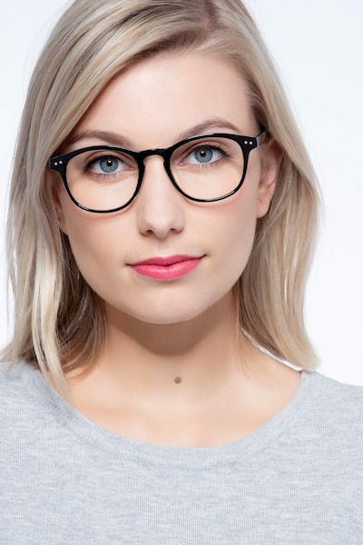 Instant Crush Clear/Black Plastic Eyeglass Frames for Women from EyeBuyDirect, Front View