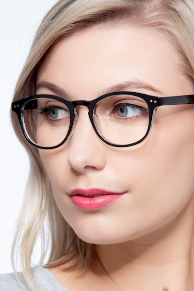 Instant Crush Clear/Black Plastic Eyeglass Frames for Women from EyeBuyDirect