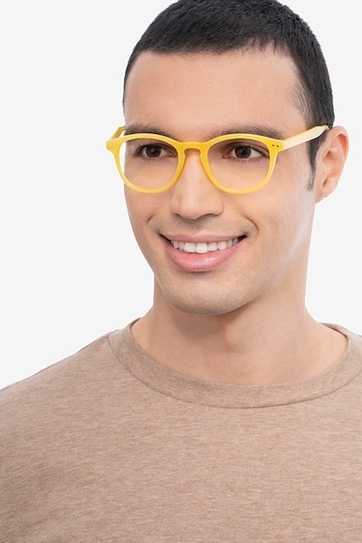 Instant Crush Yellow Plastic Eyeglass Frames for Men from EyeBuyDirect, Front View