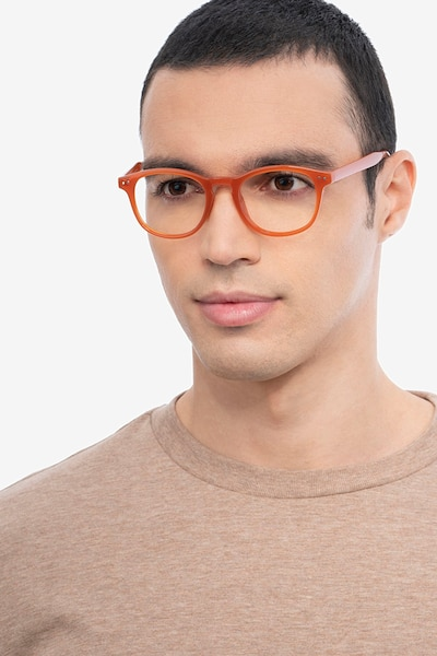 Instant Crush Orange Plastic Eyeglass Frames for Men from EyeBuyDirect, Front View