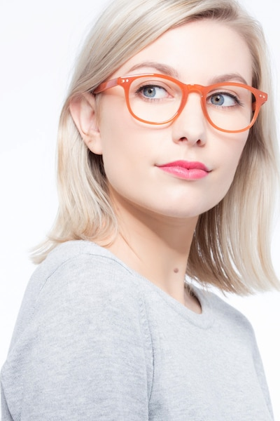 Instant Crush Orange Plastic Eyeglass Frames for Women from EyeBuyDirect, Front View