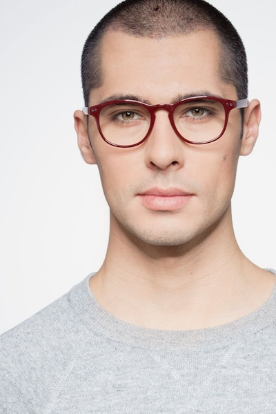 Instant Crush Red Plastic Eyeglass Frames for Men from EyeBuyDirect, Front View