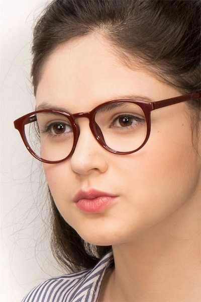 Muse Dark Red Plastic Eyeglass Frames for Women from EyeBuyDirect
