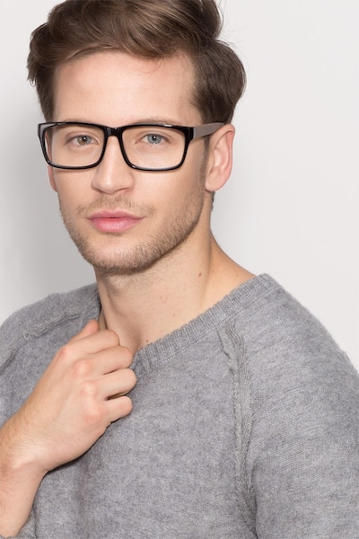 Lexington Black/brown Acetate Eyeglass Frames for Men from EyeBuyDirect, Front View