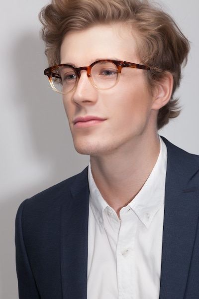 Concept Macchiato Tortoise Acetate Eyeglass Frames for Men from EyeBuyDirect, Front View