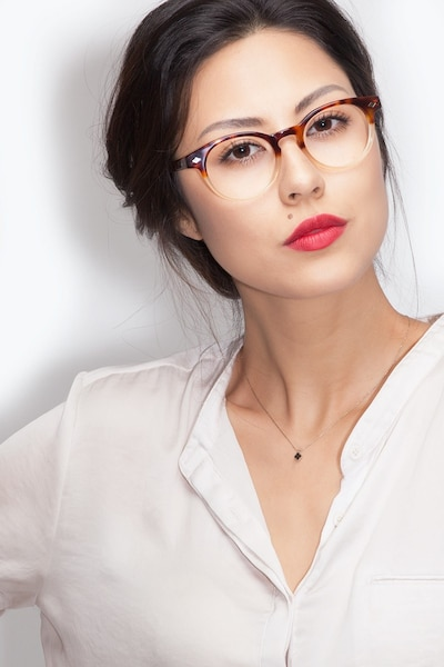 Concept Macchiato Tortoise Acetate Eyeglass Frames for Women from EyeBuyDirect, Front View