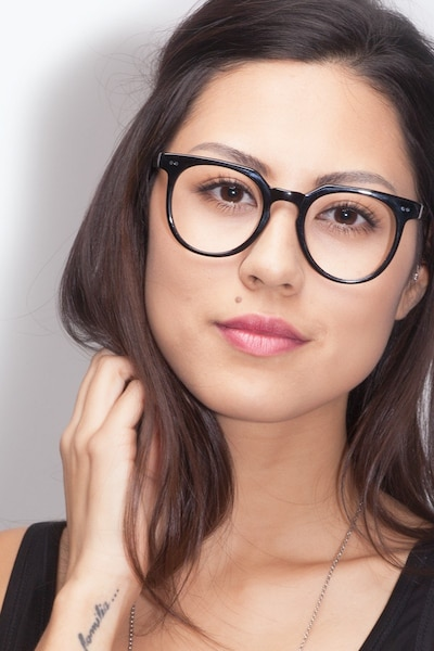 Atmosphere Jet Black Acetate Eyeglass Frames for Women from EyeBuyDirect