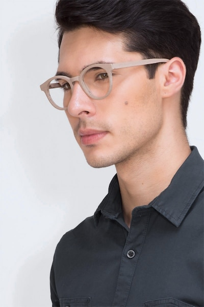 Breeze Beige Acetate Eyeglass Frames for Men from EyeBuyDirect, Front View