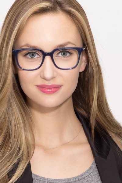 Ornette  Blue  Acetate Eyeglass Frames for Women from EyeBuyDirect, Front View