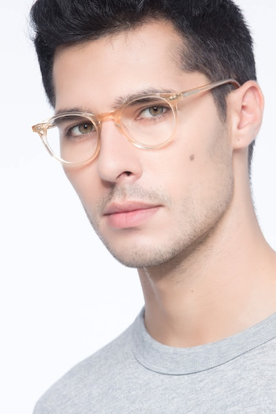 Kyoto  Clear Yellow  Acetate Eyeglass Frames for Men from EyeBuyDirect, Front View