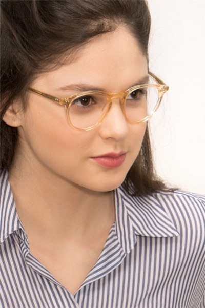 Kyoto  Clear Yellow  Acetate Eyeglass Frames for Women from EyeBuyDirect, Front View