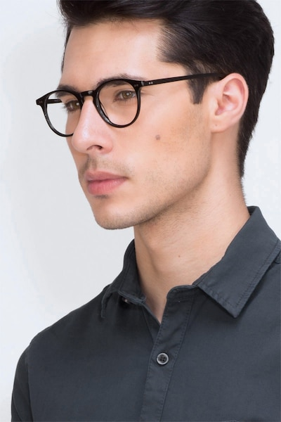 Kyoto  Black  Acetate Eyeglass Frames for Men from EyeBuyDirect, Front View