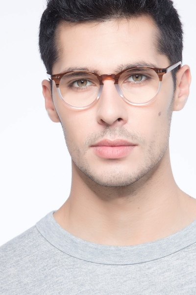 Kyoto Neapolitan Acetate Eyeglass Frames for Men from EyeBuyDirect, Front View