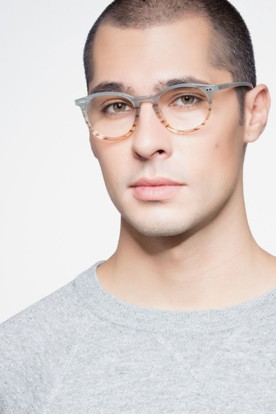 Kyoto  Green Striped  Acetate Eyeglass Frames for Men from EyeBuyDirect, Front View