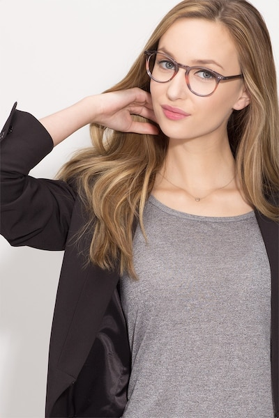 Kyoto Gray Clear Acetate Eyeglass Frames for Women from EyeBuyDirect