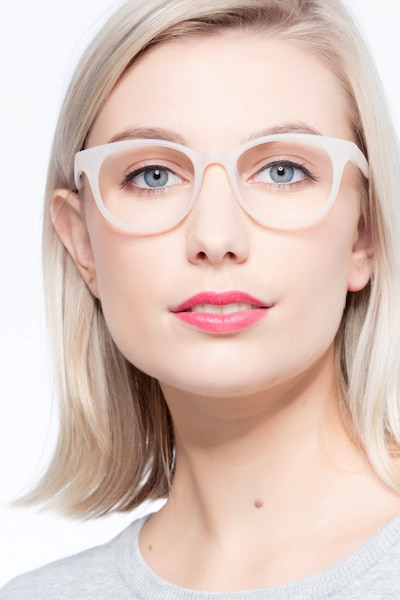 Norah Matte White  Plastic Eyeglass Frames for Women from EyeBuyDirect, Front View