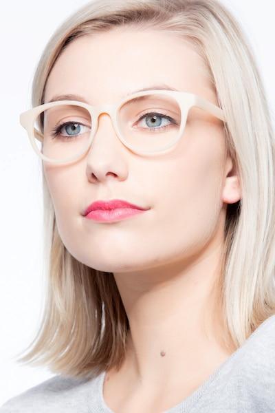 Norah Matte Beige Plastic Eyeglass Frames for Women from EyeBuyDirect, Front View