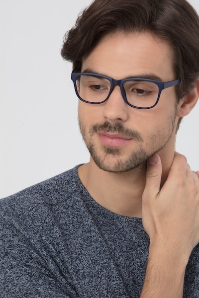 Milo Matte Navy Plastic Eyeglass Frames for Men from EyeBuyDirect, Front View