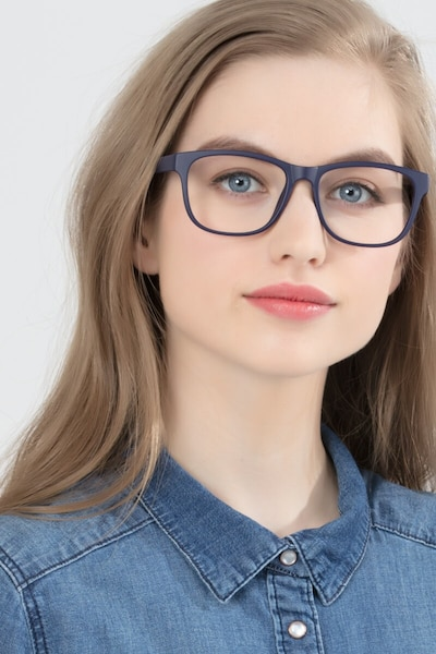 Milo Matte Navy Plastic Eyeglass Frames for Women from EyeBuyDirect