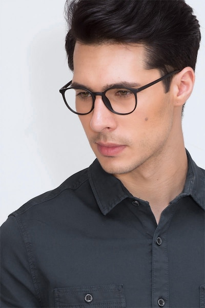 Dinah Matte Black Plastic Eyeglass Frames for Men from EyeBuyDirect, Front View