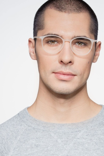 Dinah White Plastic Eyeglass Frames for Men from EyeBuyDirect, Front View