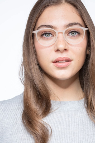 Dinah Clear/White Plastic Eyeglass Frames for Women from EyeBuyDirect, Front View