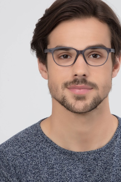 Moody Matte Gray Plastic Eyeglass Frames for Men from EyeBuyDirect, Front View
