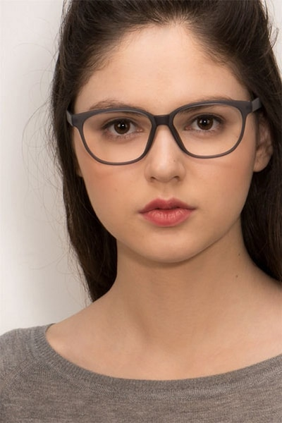 Moody Matte Gray Plastic Eyeglass Frames for Women from EyeBuyDirect, Front View