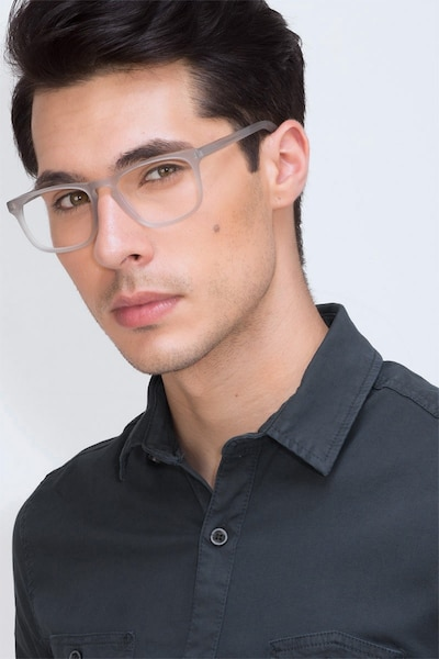Rhode Island Matte Gray Acetate Eyeglass Frames for Men from EyeBuyDirect, Front View