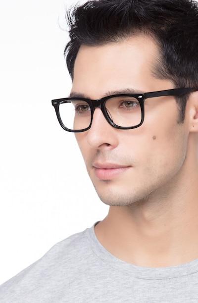 Sam Noir Acétate Montures de Lunettes pour Hommes d'EyeBuyDirect, Vue de Face