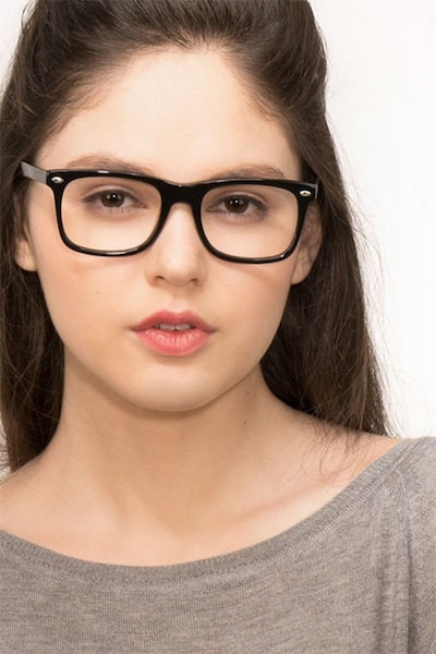 Sam Black Acetate Eyeglass Frames for Women from EyeBuyDirect, Front View
