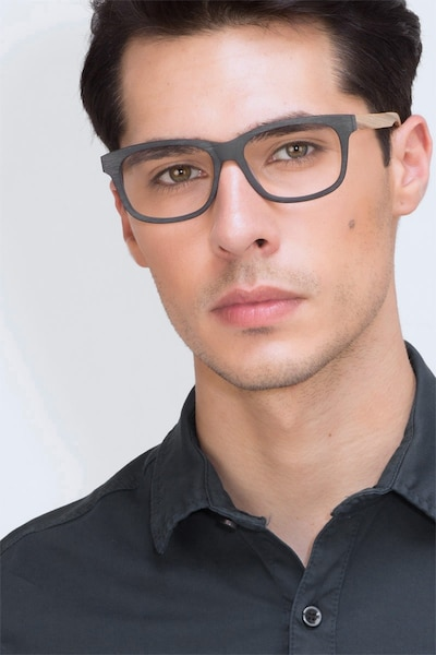 White Pine Black Acetate Eyeglass Frames for Men from EyeBuyDirect, Front View