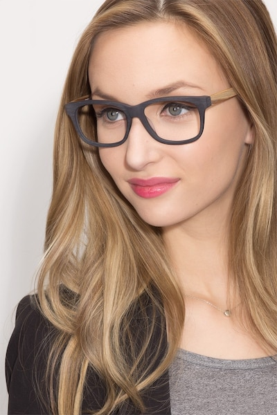 White Pine Black Acetate Eyeglass Frames for Women from EyeBuyDirect, Front View