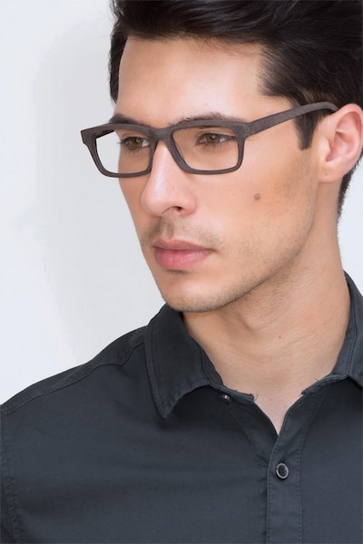 Emory Coffee Acetate Eyeglass Frames for Men from EyeBuyDirect, Front View