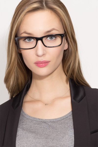 Mandi Black Acetate Eyeglass Frames for Women from EyeBuyDirect, Front View