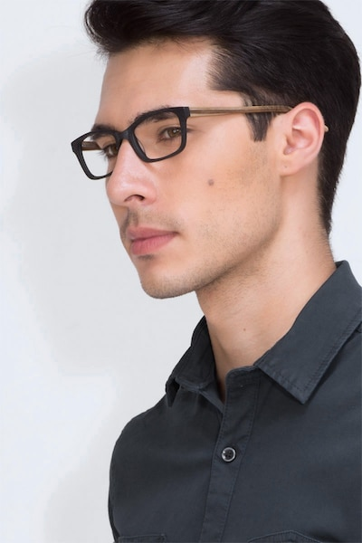 Mesquite Black Yellow Acetate Eyeglass Frames for Men from EyeBuyDirect, Front View