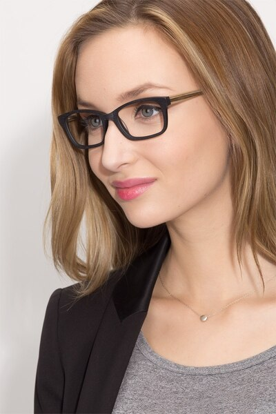 Mesquite Black Yellow Acetate Eyeglass Frames for Women from EyeBuyDirect, Front View